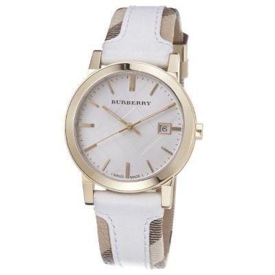 Relógio Burberry BU9015 Women's Swiss Heymarket Check Fabric and White Leather Band White Dial Watch #Relogio #Burberry