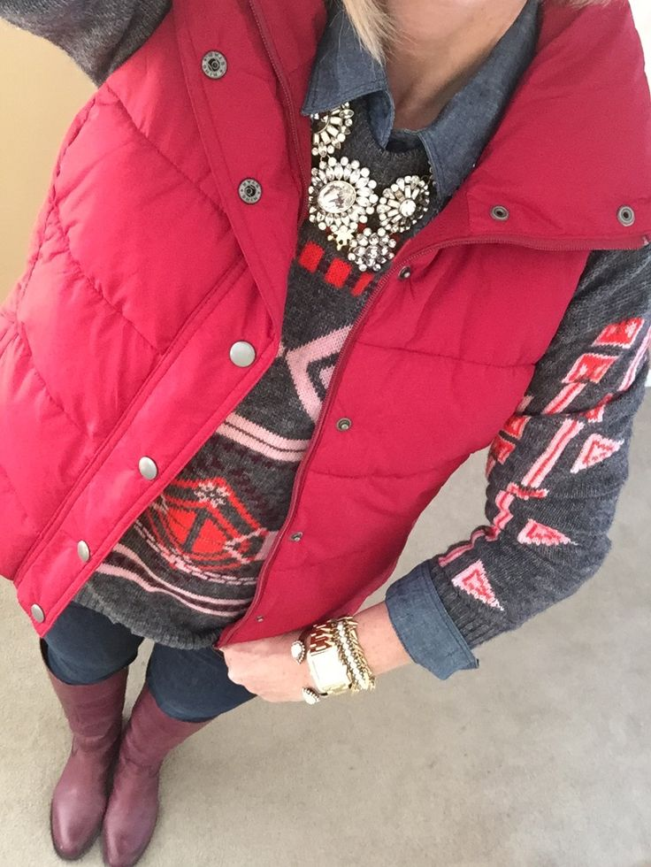 Fashion over 40:  J Crew Sweater, Old Navy Vest and Chambray Shirt, Etienne Aigner Chip Boots, J Crew Necklace, Michael Kors Watch, Loren Hope And Stella & Dot Bracelets