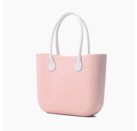 Zestaw | Obag Body Różowa+ Uchwyty- ECO skóra , kolor biały - O bag