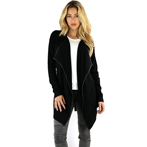Ohconcept Collection Faux-Leather Trim Wrap Sweater, Black, Extra Large  Special Offer: $49.99  266 Reviews Faux Leather Belted CardiganStraight Silhouette with a Relaxed, Easy FitHits Below HipTie-Belt at WaistLong SleevesSoft and Comfy Knit with Faux Leather Trim