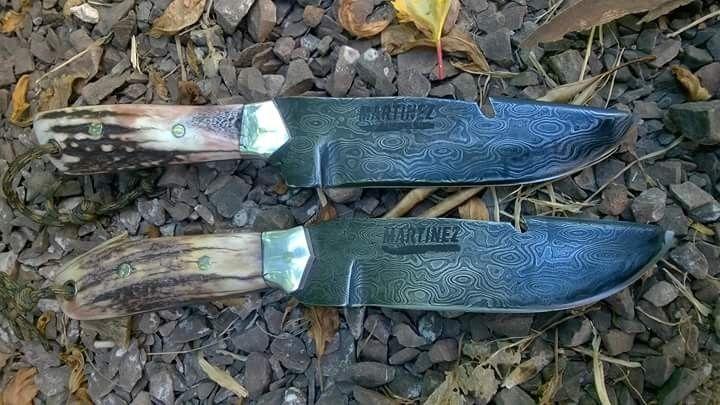 Cuchillos Skiner en acero Damasco... Forja Damián Martínez
