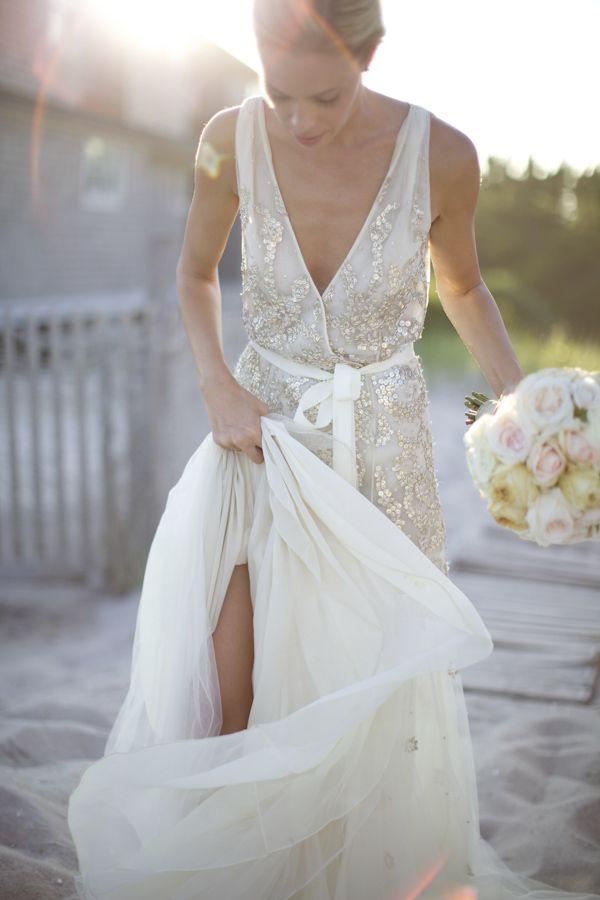 Dennis Basso - Vestido de noiva transpassado