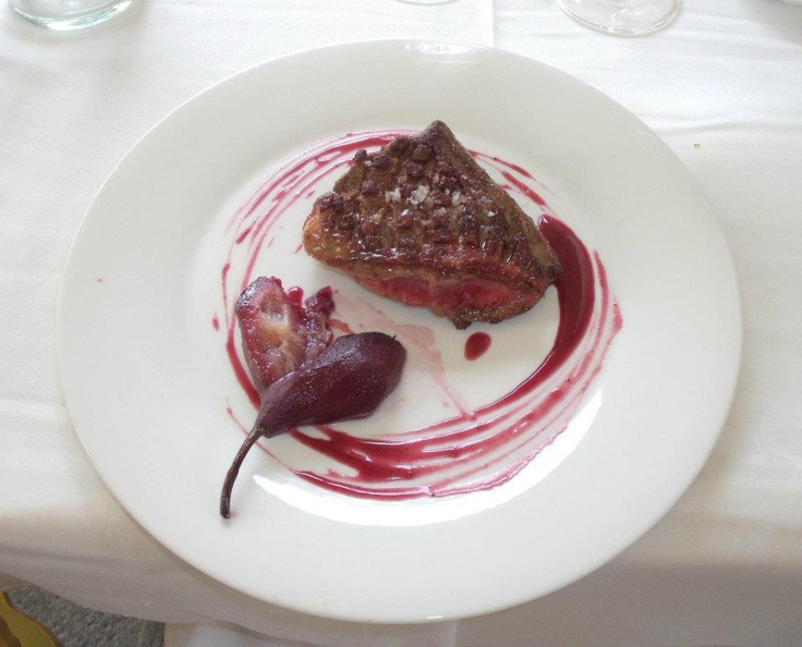 duck with pears poached in port