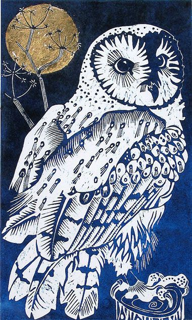 Olivia Clifton-Bligh. 'BARN OWL, SOUTHLEIGH WOOD' Illuminated linocut 55x75cm