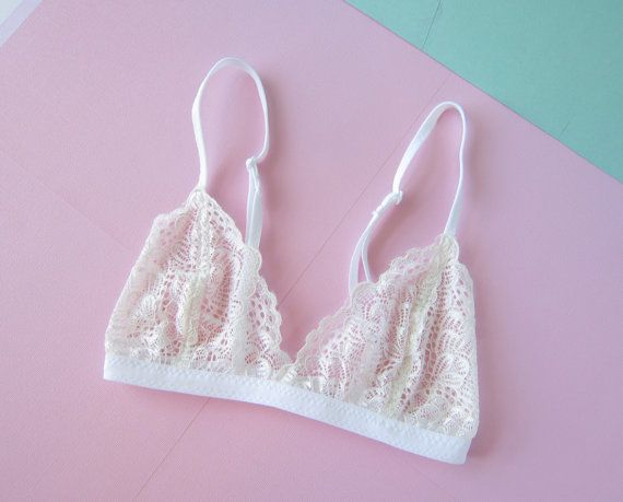 Sheer Scalloped Lace Basic Bralette by TheDaisyHoard on Etsy