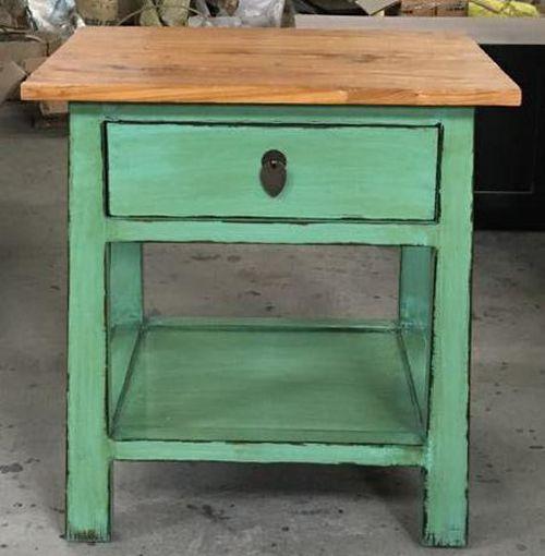 Green bedside table - elm wood top