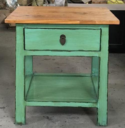 Green bedside table - elm wood top