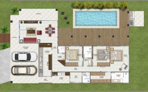 planta casa térrea com piscina