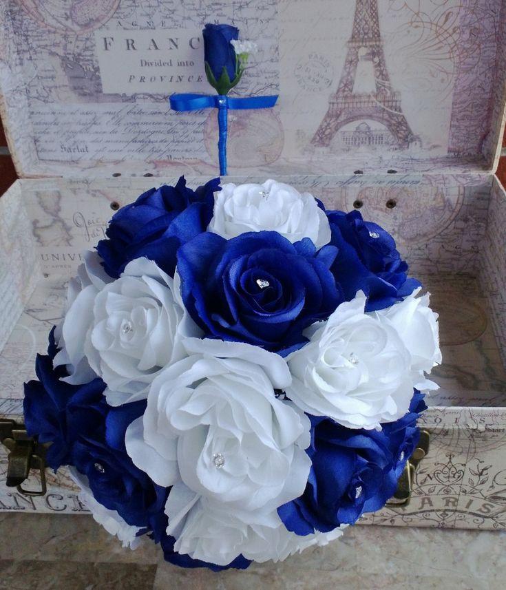 Royal Blue White Rose Bouquet Royal Blue White Bouquet White Blue Bouquet Royal Blue White Bouquet Horizon Blue Royal Blue Wedding (59.99 USD) by SilkFlowersByJean