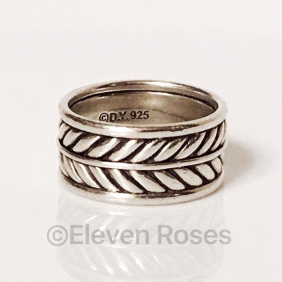 David Yurman Sterling Wide Chevron Band Ring Men's David Yurman Sterling Silver Wide Double Chevron  Band  Ring - From The Chevron Collection - 925 Sterling Silver - Double Chevron Band Design -  Hallmarked; D.Y., 925 - US Size 8  ** Due To The Width, Will Fit More As A Size 7.5 - Price Is As Stated David Yurman Jewelry Rings