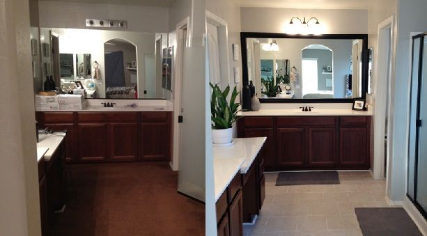 Bathroom Makeovers Before And After frame on a big mirror. genius | bathroom ideas | pinterest