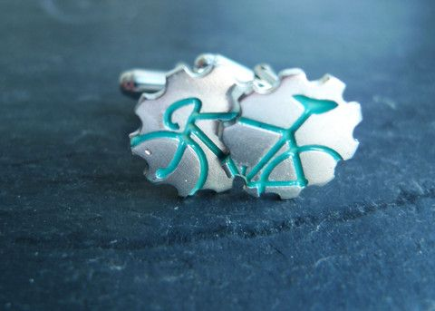 For that special someone who loves to ride! Bicycle Cufflinks in Turquoise by #SlashpileDesigns #cyclelife #cufflinks #giftguide