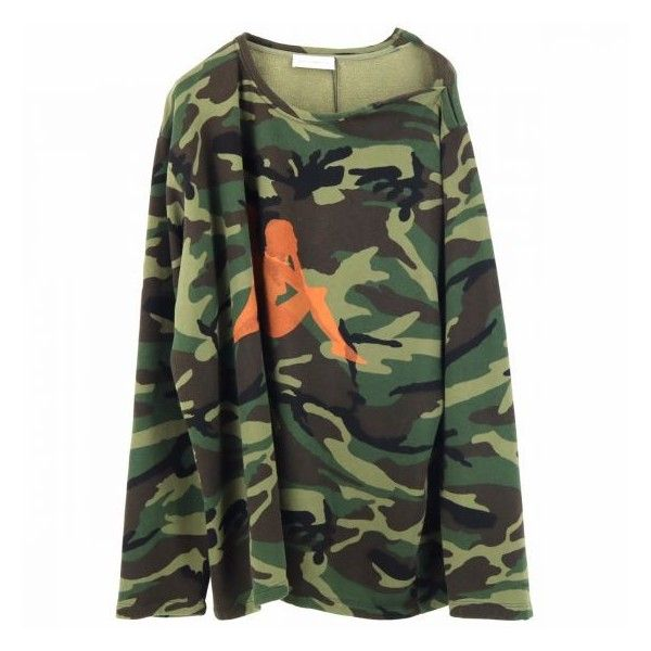 FAITH CONNEXION TOPS KAPPA CAMO SAILOR TOP ARMY KAKI (€295) ❤ liked on Polyvore featuring tops, camo top, army top, sailor top, camouflage top and camo print top