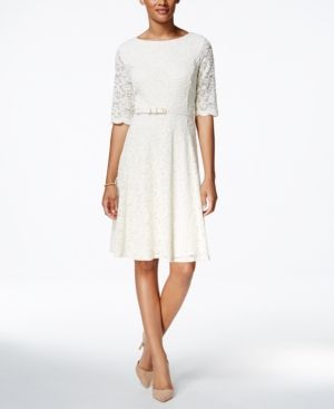 Charter Club Petite Belted Lace Fit & Flare Dress, Only at Macy's - Ivory/Cream P/XS
