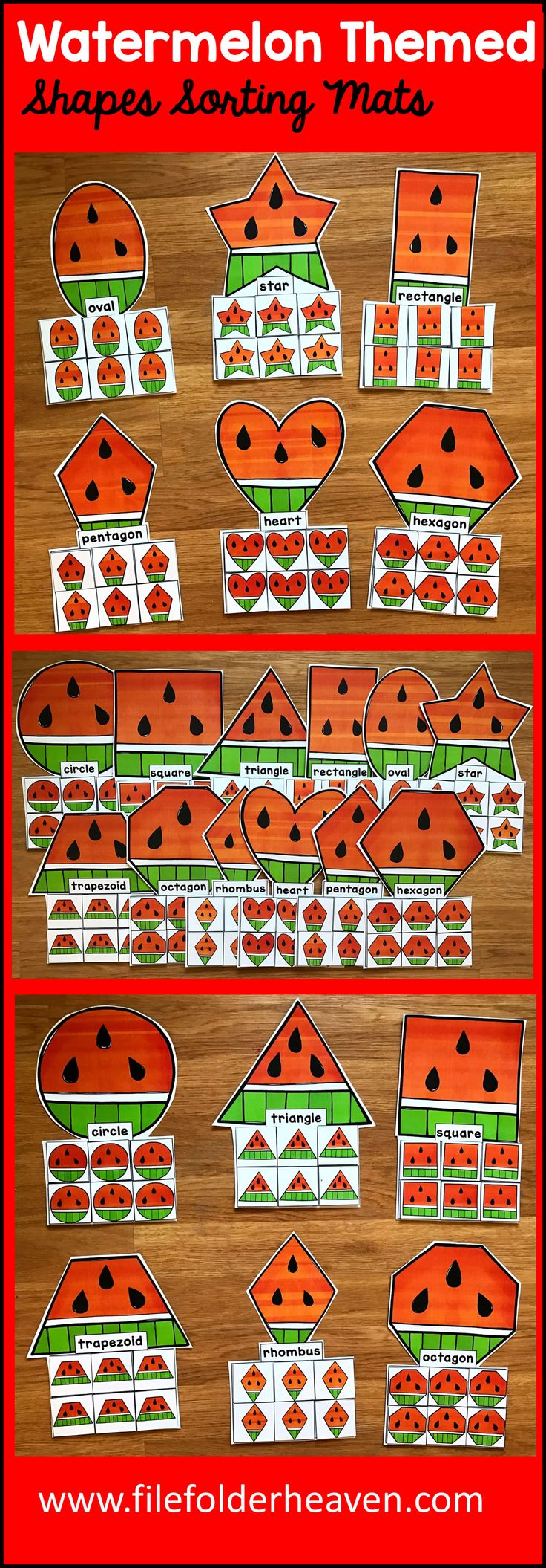 These Watermelon  Shapes Sorting Mats include 12 unique sorting mats that focus on watermelons by shape.  In a center or independent work station, students sort watermelon shapes into the mat with watermelon that has the same shape. Shape mats included are:  circle square triangle rectangle oval heart star rhombus trapezoid pentagon hexagon octagon