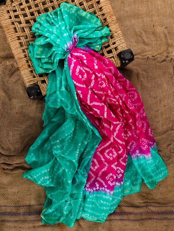 Dual toned silk bandhej saree