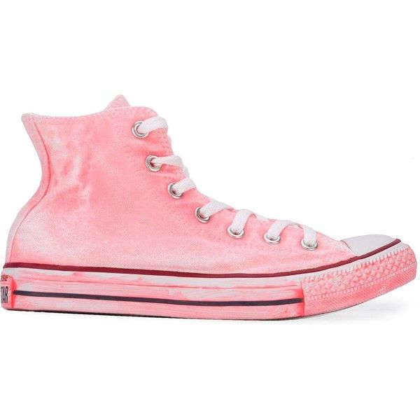 Converse Painted Effect High Top Sneakers ($105) ❤ liked on Polyvore featuring shoes, sneakers, converse high tops, pink sneakers, high top shoes, hi tops and pink shoes