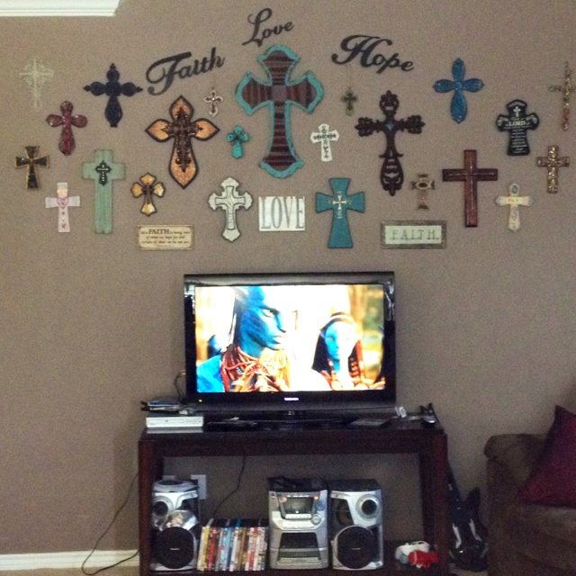 Dining Area Gallery Wall Colorful Country Decor Crosses Art