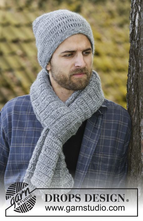 Set consists of: Crochet DROPS men's hat and scarf with trebles and single crochet in Air. Free pattern by DROPS Design.