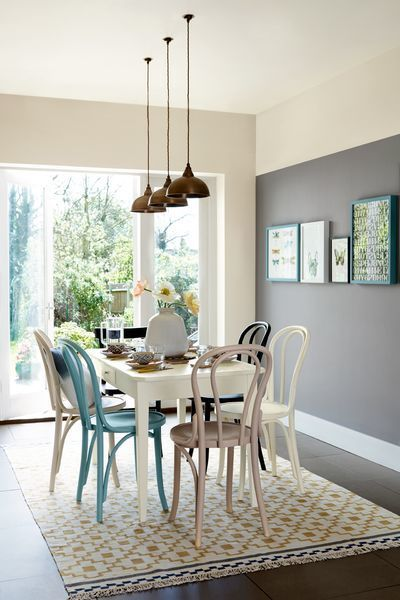 Bright blue and turquoise accessories look great against slate greys and inject some welcome colour into a cool neutral scheme. Try a mid-tone shade such as Deep Fossil for your dining room feature wall.