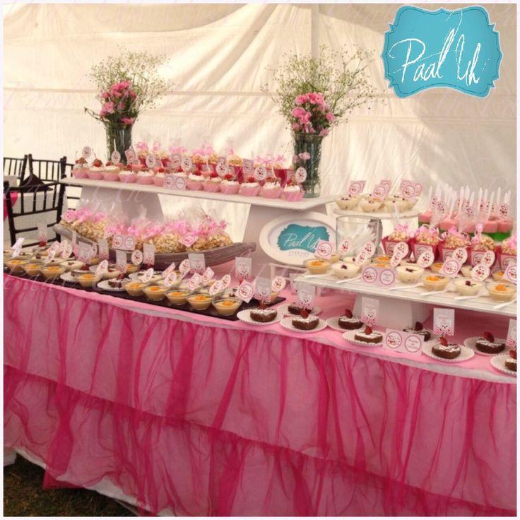15 best b ho de rosa for Mesa de postres baby shower