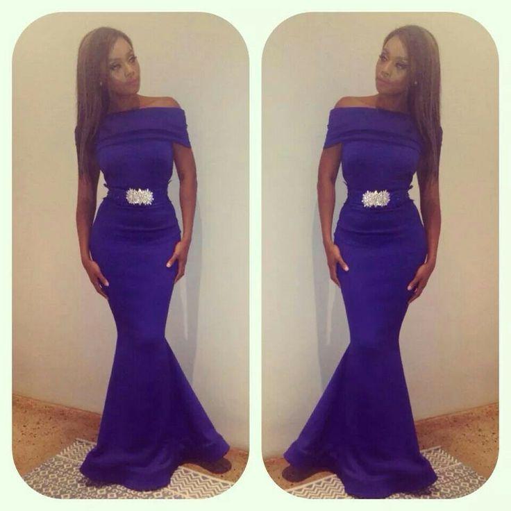 Bonang Matheba Style In Blue Long Evening Dress