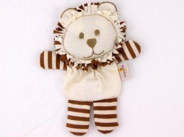 Lion Dummy Pocket Ivory w/ Brown Stripes #OrganicCottonSoftToys  http://www.vanillababy.com.au/shop/soft-toys/lion-soft-toy-dummy-pocket-ivory-with-brown-stripes/