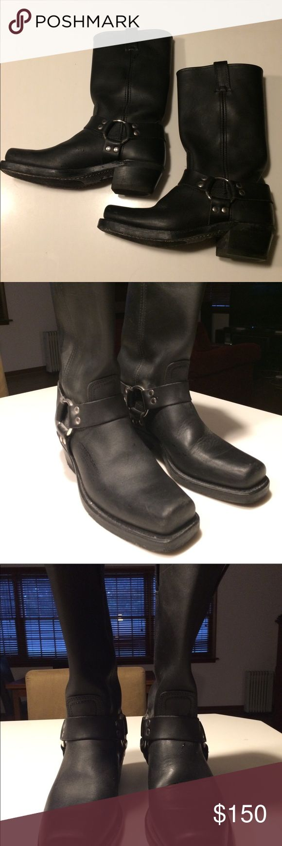 Frye Harness boots Frye Harness boots in black.  Worn twice.  A few barely noticeable scratches on toes, otherwise excellent condition.  Please see photos and ask questions if needed! Frye Shoes