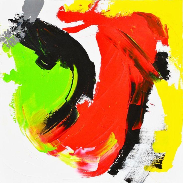 Dit is een: Acrylverf op doek, titel: 'Abstract rood geel groen zwart' kunstwerk vervaardigd door: Tiny de Bruin