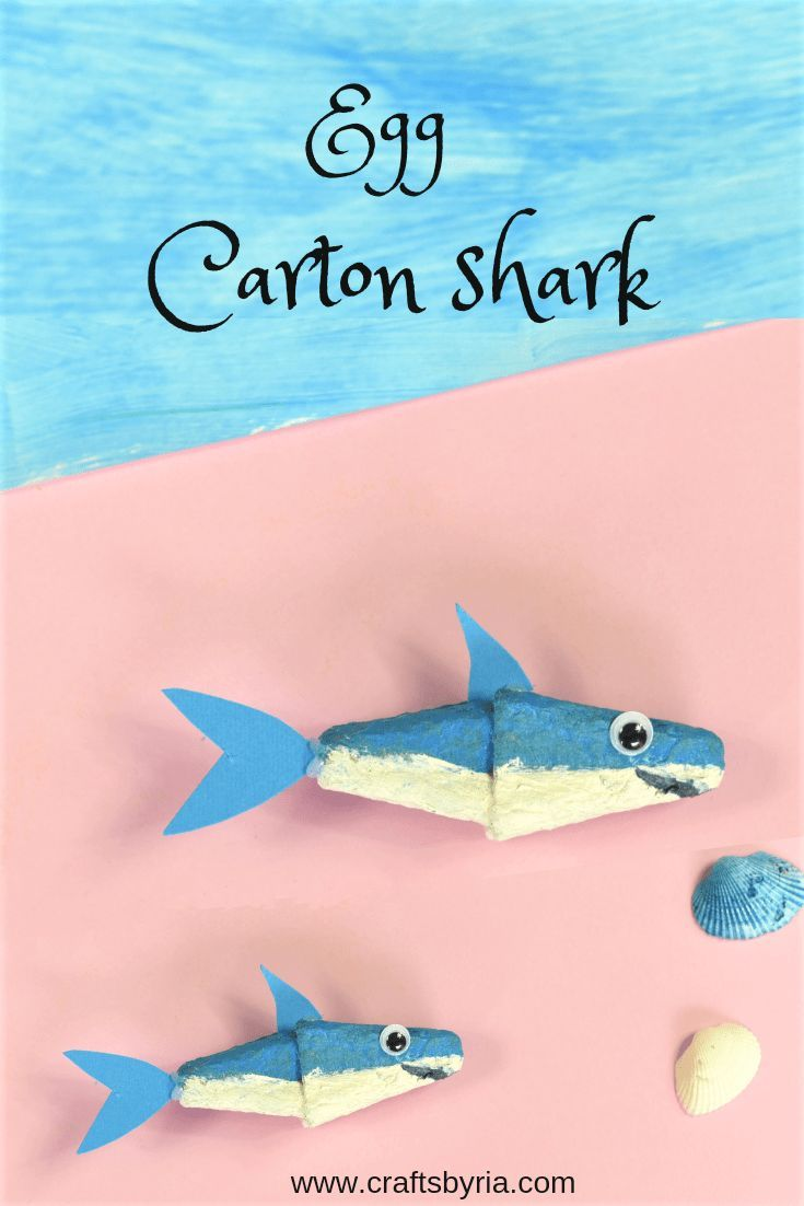 Cute Shark Craft From Egg Carton Recycled Craft For Kids