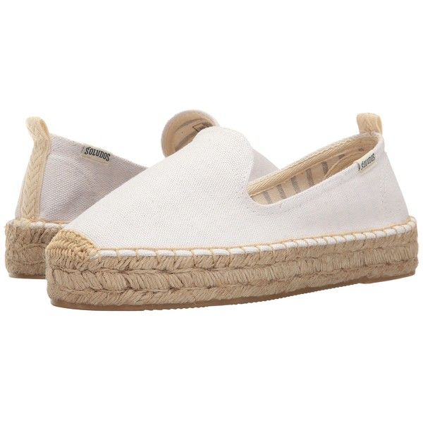 Soludos Platform Smoking Slipper (White) Women's Slip on  Shoes ($65) ❤ liked on Polyvore featuring shoes and slippers