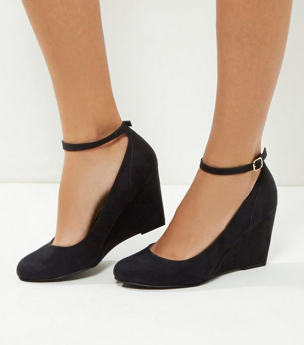 Wide Fit Comfort Black Suedette Ankle Strap Wedges | Shoes ...