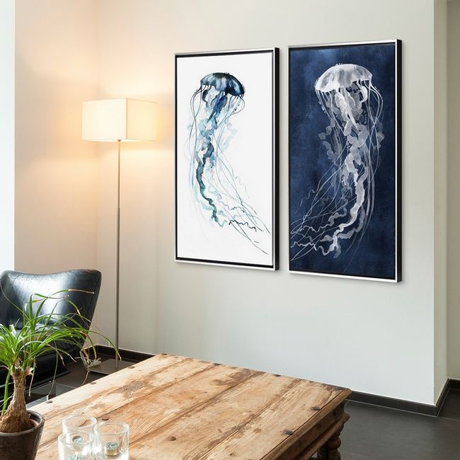 High Contrast Blue And White Jellyfish Watercolor Wall Decor Wall Art Electric Tangle Ll And Large Canvas Art Living Room Large Canvas Art Big Wall Art
