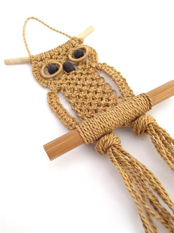 Vintage 1970s decorative woven sisal macrame owl by bluearmoire