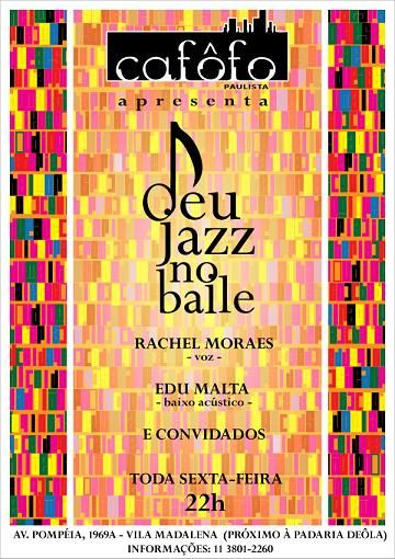 """DEU JAZZ NO BAILE ! Um baile de música brasileira, de bolero á samba e baião, tocado por um quarteto de jazz! Noel Rosa, Chico Buarque, Dorival Caymmi, João Donato, Dominguinhos, Nelson Rufino, um repertório de música brasileira, com novos arrajos, executados pelos: Chel Moraes (voz) e Edu Malta (arranjos e baixo) recebendo á cada...<br /><a class=""""more-link"""" href=""""https://catracalivre.com.br/geral/agenda/barato/sexta-feira-3-de-junho-deu-jazz-no-baile/"""">Continue lendo »</a>"""