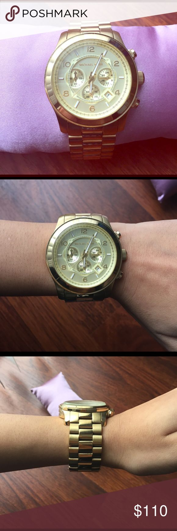 Michael Kors Oversized Runway Watch in Gold Like new MK oversized Runway Watch in Gold !! (#MK8077) **NEEDS NEW BATTERY**  *comes with 4 additional links for sizing* Michael Kors Accessories Watches