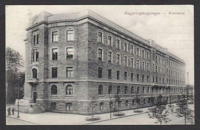 Regjeringsbygningen i Christiania Stemplet Kristiania 19-8-1909,