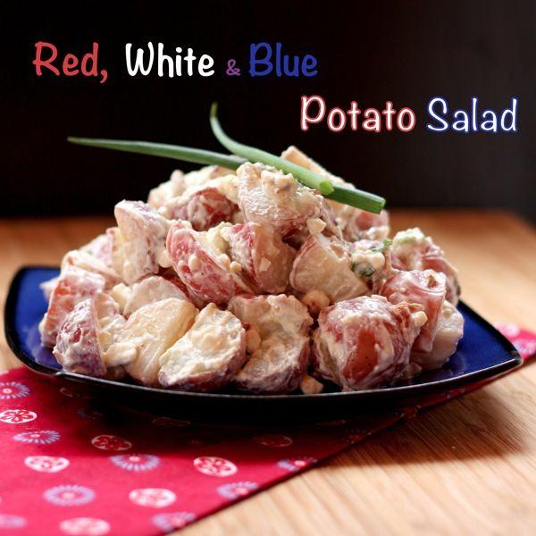 Red, White & Blue Potato Salad | cupcakesandkalechips.com #potatosalad #4thofJuly #GreekYogurt