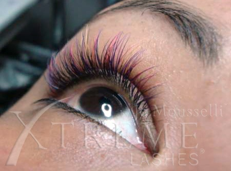 Colored lash extensions...black, amethyst, cranberry, lemon and sapphire