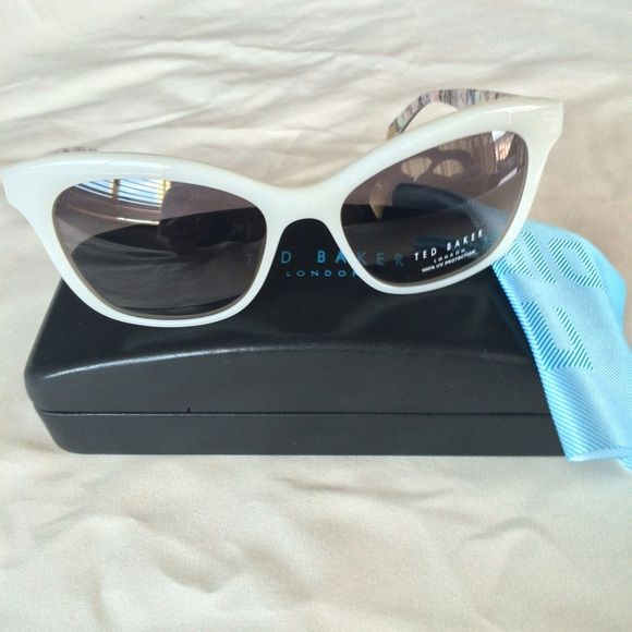 $105 CCO.   Womens Cat Eye Sunglasses Ted Baker Women's Cat Eye Sunglasses in white.  56-17-135 mm; eye-bridge-temple measurements.  100% UV protection.  trades/PP.  reasonable offers accepted. Ted Baker Accessories Watches