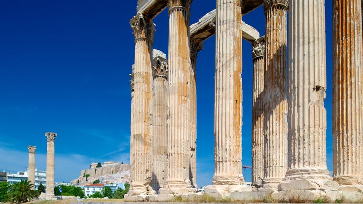 The Temple of Olympian Zeus, also known as the Olympieion or Columns of the Olympian Zeus, is a colossal ruined temple in the center of the Greek capital Athens that was dedicated to Zeus, king of the Olympian gods.