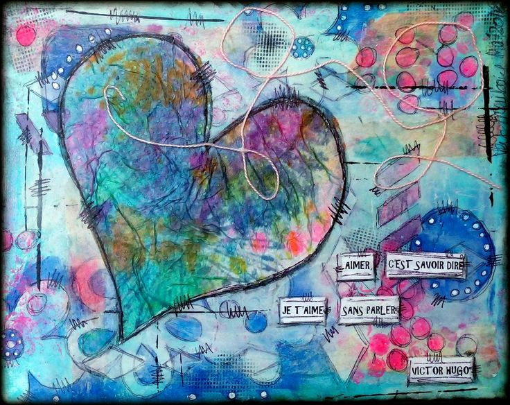 Heart #1, #canvas (8x10) #Collage #MixMedia .