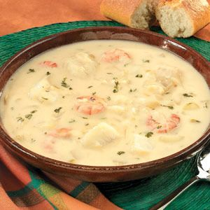 Seafood Chowder. Shrimp and white fish simmer quickly in a creamy potato broth spiked with sauteed onion, garlic and dill.