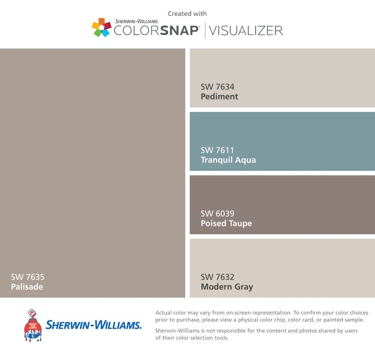 I found these colors with ColorSnap® Visualizer for iPhone by Sherwin-Williams: Palisade (SW 7635), Pediment (SW 7634), Tranquil Aqua (SW 7611), Poised Taupe (SW 6039), Modern Gray (SW 7632).