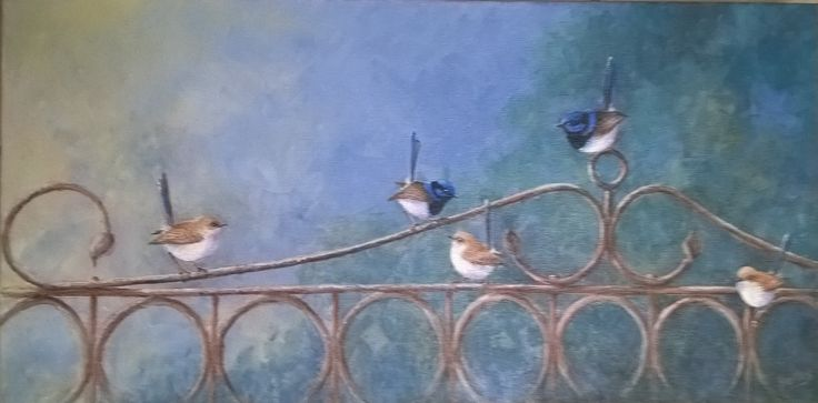 The Visitors Acrylic 40x60. Love my little wrens. created 2016
