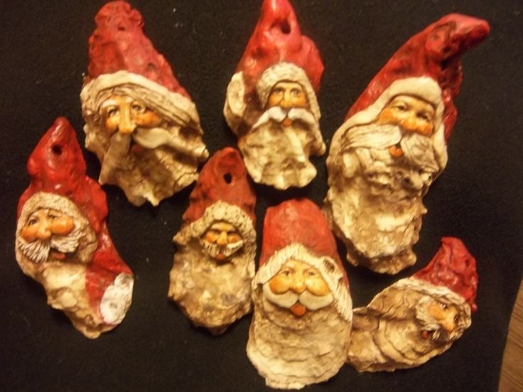 A grouping of Traditional Oyster Shell Santas