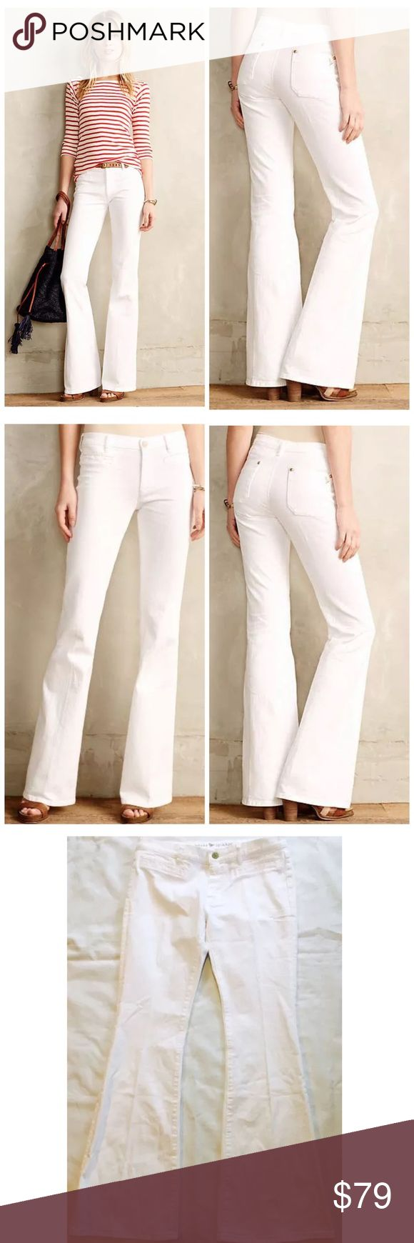 """ANTHROPOLOGIE MIH CASABLANCA PETITE FLARE JEANS 30 ANTHROPOLOGIE MIH CASABLANCA PETITE FLARE JEANS IN WHITE  $218 RETAIL PRICE, new without tag, inner label marked, perfect condition except for minor dust marks from store handling that should wash right out  Petite exclusive Cotton, elastane Front welt, back patch pockets Machine wash Imported Style No. 4122267190145 Dimensions 32"""" inseam 8"""" mid rise; 10"""" ankle 16"""" flat across waist 21"""" leg opening Anthropologie Jeans Flare & Wide Leg"""