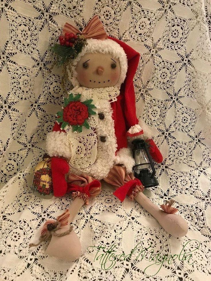 Primitive Folk Art Snowman Doll Vintage Lace Lantern Christmas Tattered Magnolia #Primitive #TatteredMagnolia