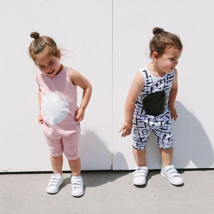 Romper cuteness - kids romper - rompers - Pink - monochrome - matching rompers