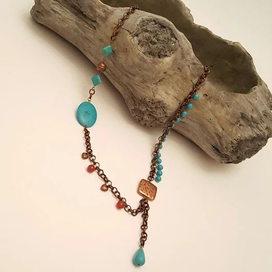 Copper chain  and Turquoise beads & Turquoise -Copper-Jade  Charms necklace by Chiki Design